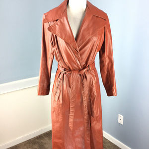 Vintage Brown Leather Long Trench Coat Jacket XS S
